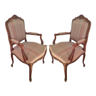 French Walnut Upholstered Armchairs - a Pair For Sale