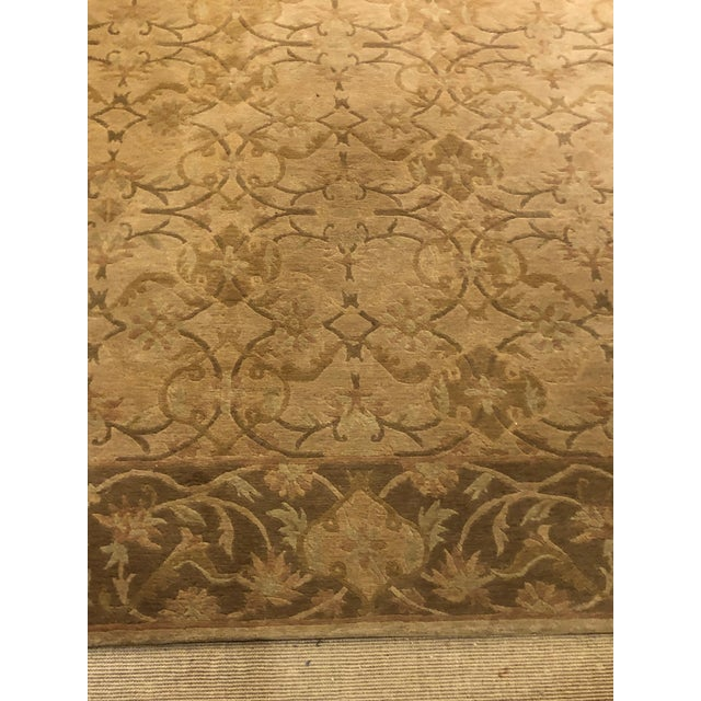 Neutral Luxurious Silk Tibetan Area Rug- 6′2″ × 8′11″ For Sale - Image 4 of 10
