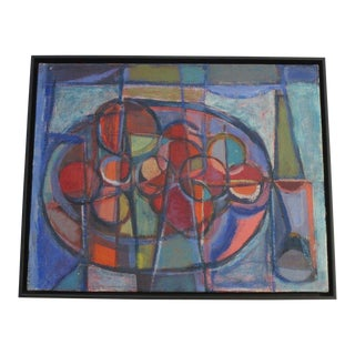 Brewer 1950's Abstract Painting Expressionism Cubist Cubism Colorful Modernism For Sale