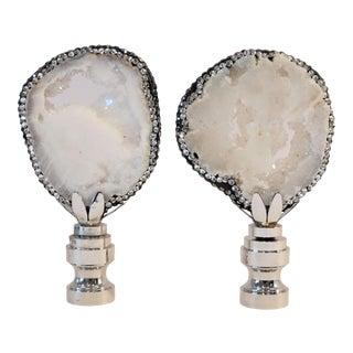 Swarovski Jewel Trimmed Snow White Geode Finials by C. Damien Fox, a Pair. For Sale
