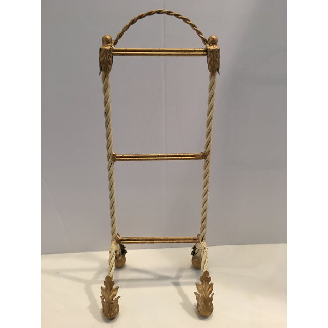 Hollywood Regency Italian Painted Hand Towel Holder For Sale - Image 3 of 8