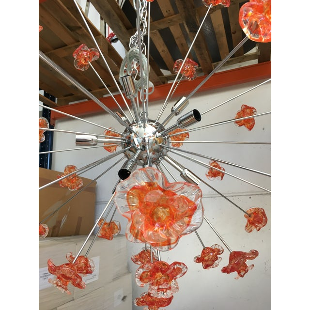 Murano Murano Glass Triedo Sputnik Flower Chandelier For Sale - Image 4 of 6