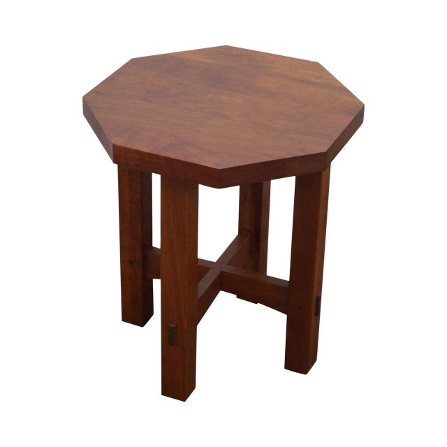 Stickley Mission Style Cherry Octagon Small Side Table Taboret Stand For Sale