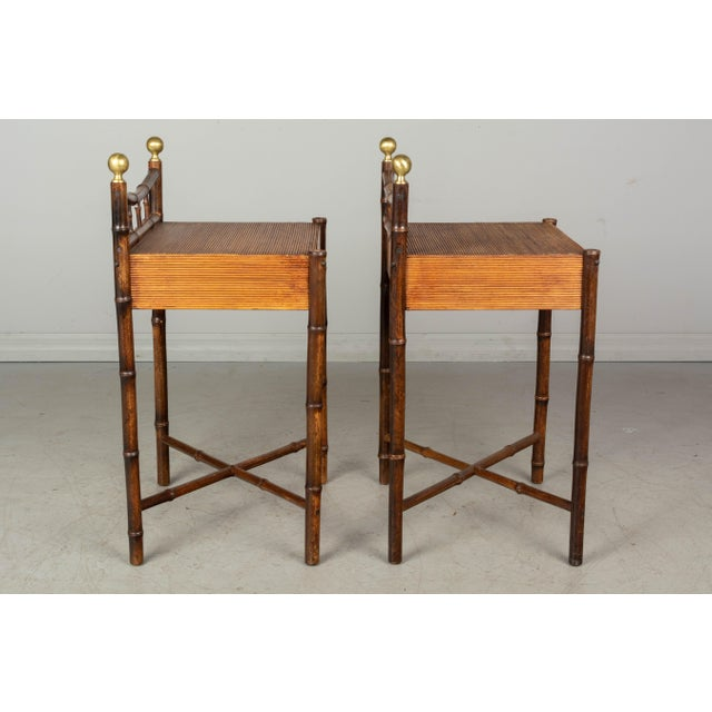 Mid 20th Century French Mid-Century Bamboo & Rattan Side Tables, a Pair For Sale - Image 5 of 8