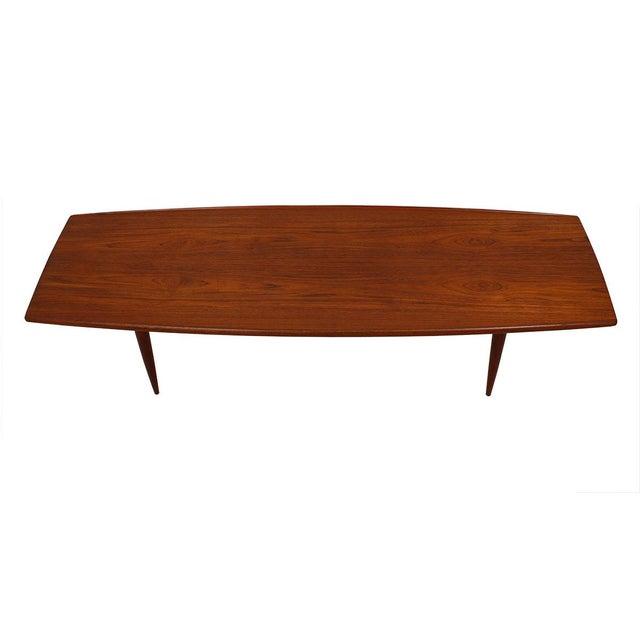 Long Danish Modern Teak Surfboard Coffee Table - Image 1 of 7