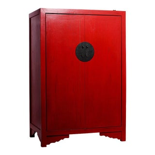 Antique Style Chinese Red Lacquered Liquor Cabinet With Revolving Hidden Panel Preview