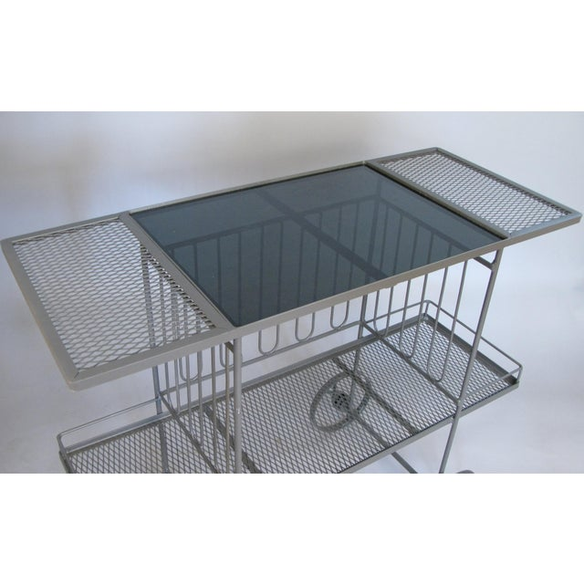 Mid-Century Modern Wrought Iron & Glass 1950's Bar Cart by Salterini For Sale - Image 3 of 7