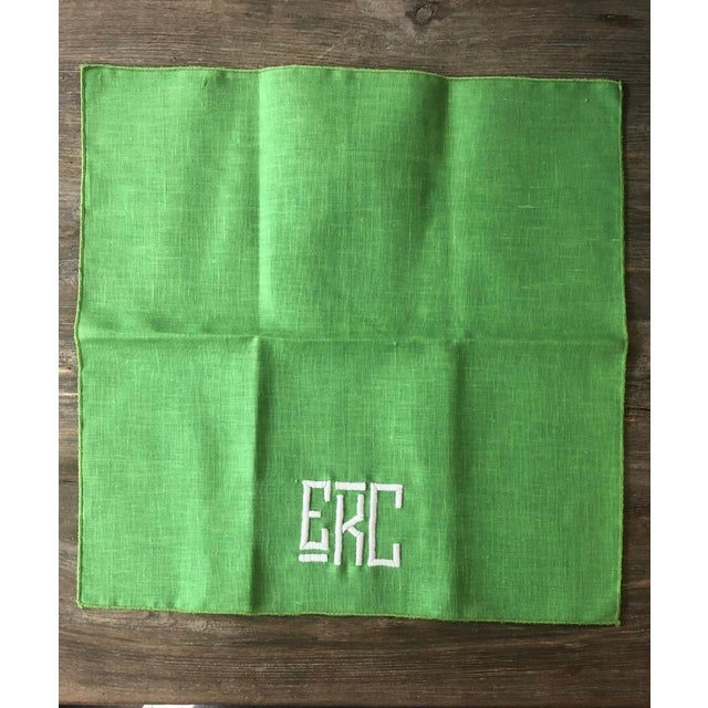 1990s Kelly Green Monogrammed Napkins, For Sale - Image 4 of 6