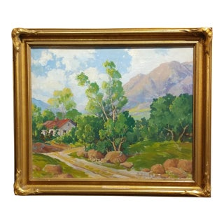 Andrew B. Lund -Beautiful Plein Air Landscape-California Impressionist-Oil panting For Sale