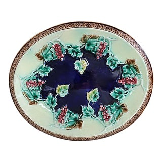 Antique English Majolica Grapevine Plate For Sale