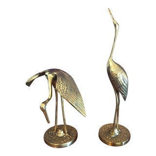 Solid Brass Crane Figurines - a Pair For Sale