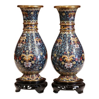 Pair of Japanese Cloisonné Enameled and Brass Vases With Wood Carved Stands