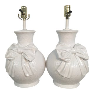 Vintage Bow Lamps, Lacquered For Sale