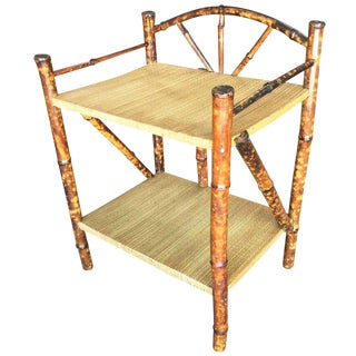 Restored Tiger Bamboo Two-Tier Short Shelf With Bottom Shelf For Sale