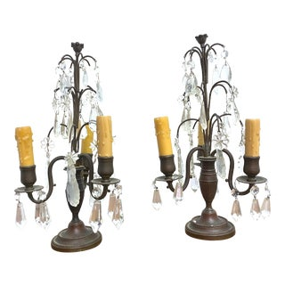 19th Century Crystal and Bronze 3 Light Girandoles - a Pair For Sale
