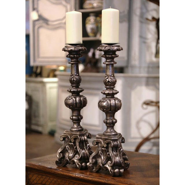 Add an air of drama and elegance to your home with this pair of antique candlesticks. Crafted in Italy circa 1960, each...
