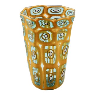 Formentello Murano Glass Gold and Teal Vase