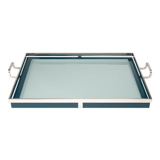 Steven Gambrel Collection Howard Tray Large in Teal For Sale