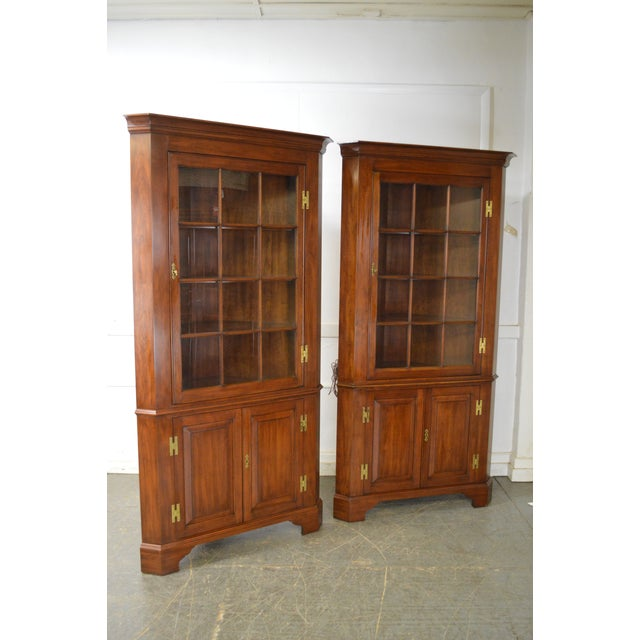 Henkel Harris Henkel Harris Chippendale Style Pair of Solid Cherry 12 Pane Corner Cabinets For Sale - Image 4 of 13