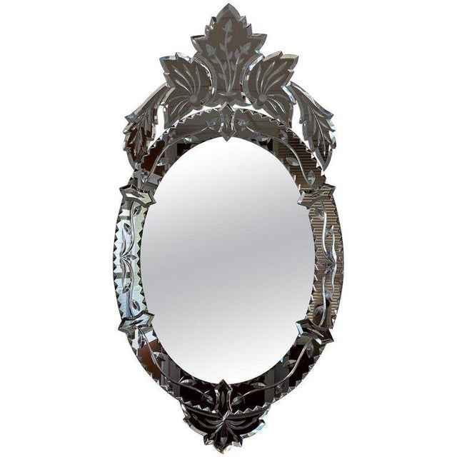 Transparent New Oval Venetian Mirror With Crest For Sale - Image 8 of 8