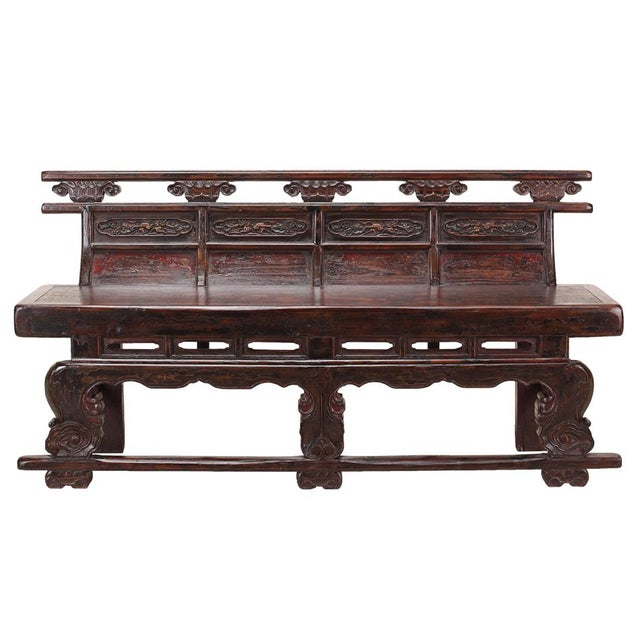 Sarreid Ltd. C. 1900 Chinese Temple Bench - Image 2 of 4