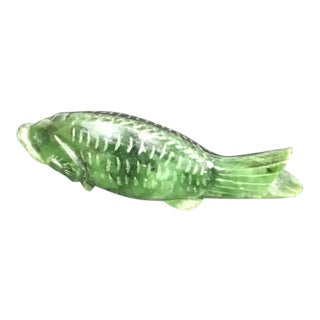 Vintage Green Stone Fish For Sale