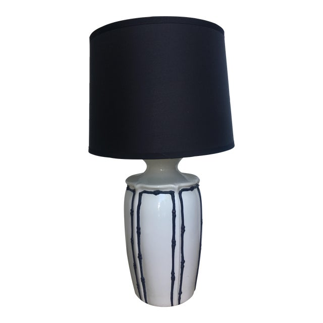 Navy Blue & White Icing Bamboo Lamp For Sale