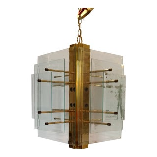 1960s Brass and Glass Modern Chandelier For Sale