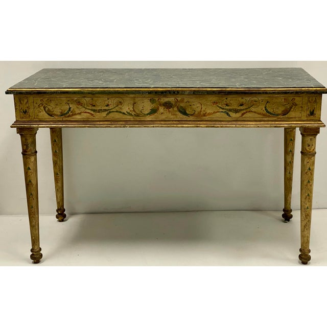 French Pair of French Style Painted Marble Top Console Tables For Sale - Image 3 of 6