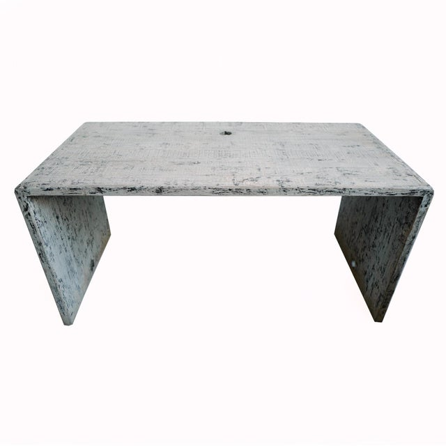 Modern waterfall design Elm wood desk or dining table. Beautiful distressed finish with sanded smooth grey, black and...