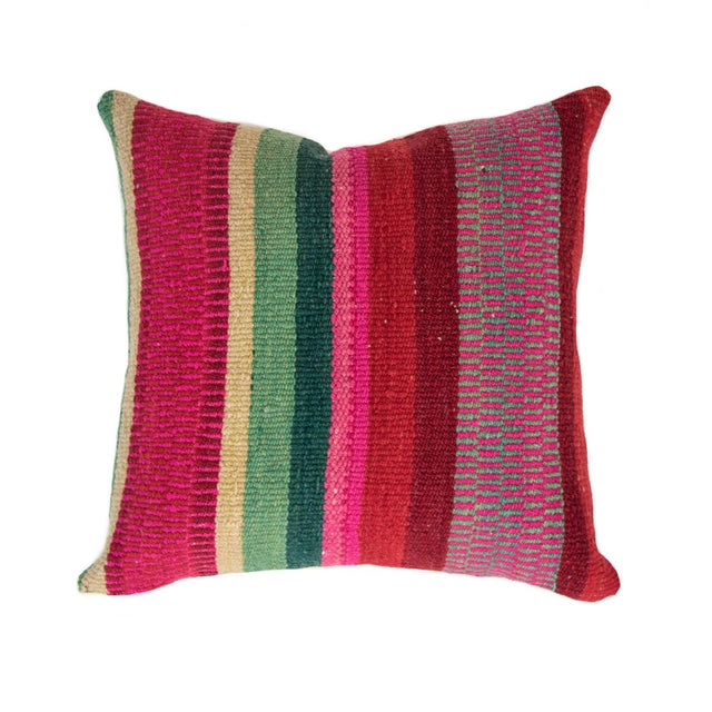 Red Striped Handwoven Peruvian Pillow - Image 1 of 5