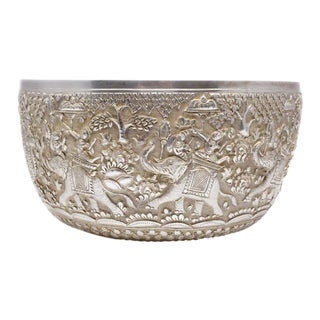 Hand Carved Silver Elephant Bowl