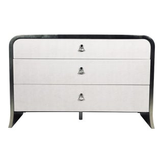 Contemporary 3-Drawer Chest With Silver Leaf Accents For Sale