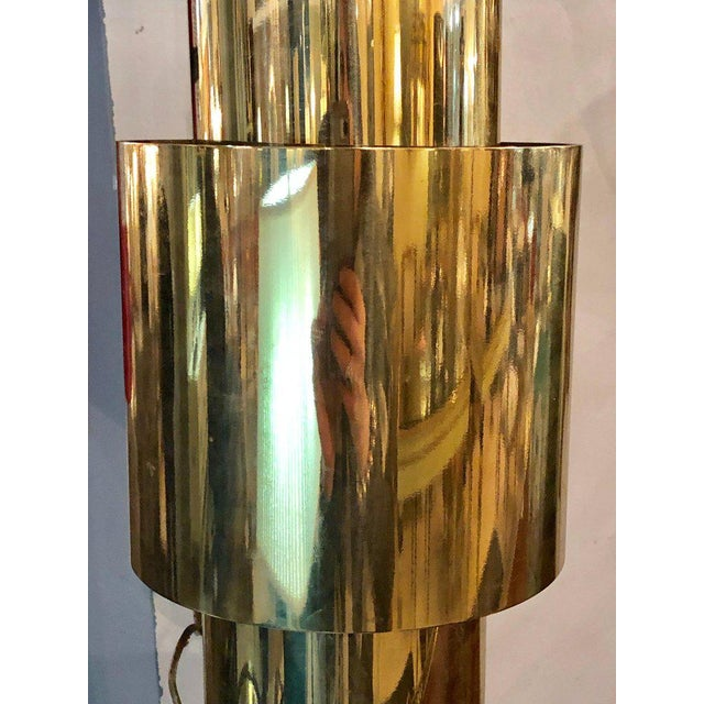 Karl Springer Pair of Mid-Century Modern Karl Springer Brass and Lucite Wall Sconces For Sale - Image 4 of 12