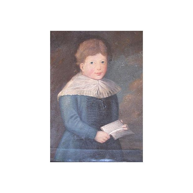Antique 1827 Folk Art Portrait Painting of a Boy in Blue - Image 3 of 7