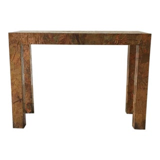 Lacquered Copper and Brass Pathwork Console Table 1970s For Sale