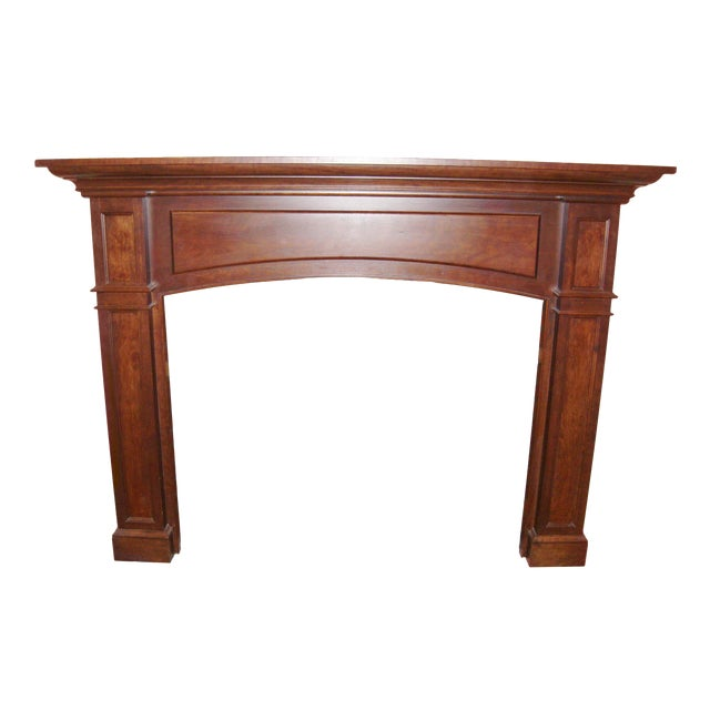 Modern Solid Cherry Fireplace Mantle Arched For Sale