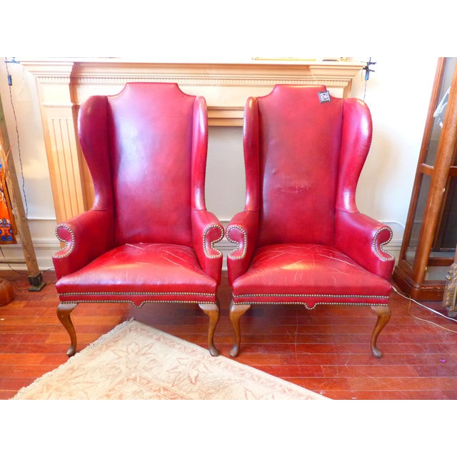 Vintage Red Leather Wingback Chairs With Nailhead Detail and Generous Proportions- Pair For Sale - Image 13 of 13