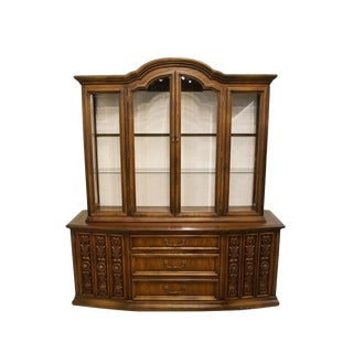 Lane Furniture Spanish Revival Lighted China Cabinet For Sale