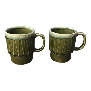 Green Drip Glaze Mugs - a Pair