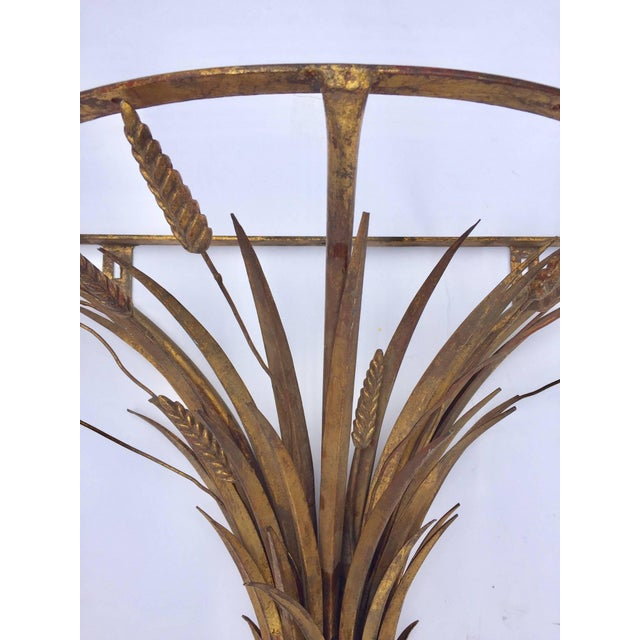 Hollywood Regency Vintage Gilded Metal Sheaf of Wheat Console Table Base For Sale - Image 3 of 13