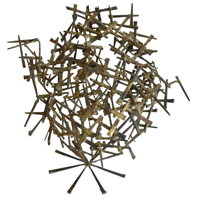 1970s Brutalist Abstract One of Kind Tabletop Nail Sculpture For Sale