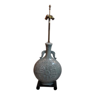 Grand Marbro Celadon Glaze Vase Lamp For Sale