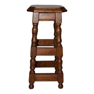 English Brown Oak Stool For Sale