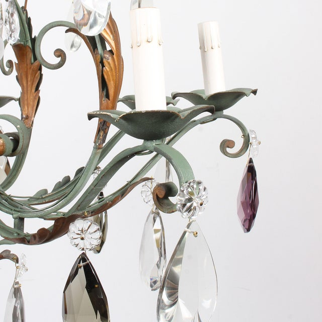 Crystal Vintage French 8-Light Painted Iron and Crystal Chandelier For Sale - Image 7 of 12