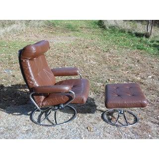 Vintage Mid Century Modern Ekornes Stressless Lounge Chair & Ottoman Chrome Base Preview