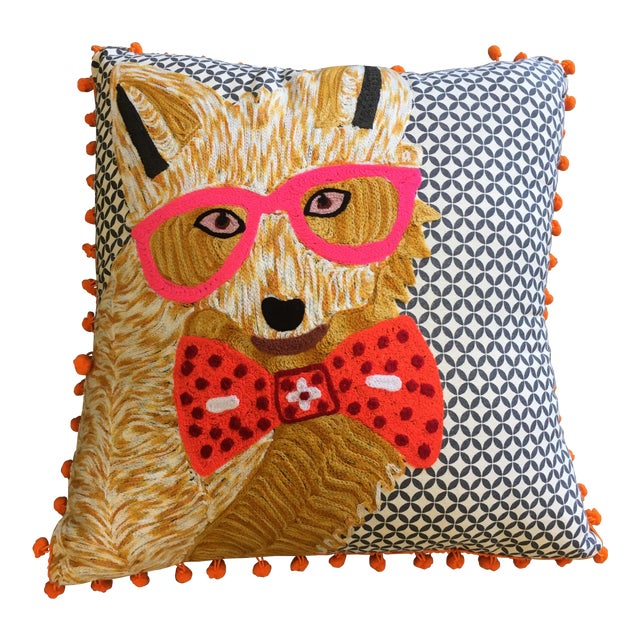 Karma Living Fox With Glasses Pillow For Sale