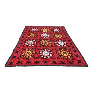 Handmade Red Suzani Textile For Sale