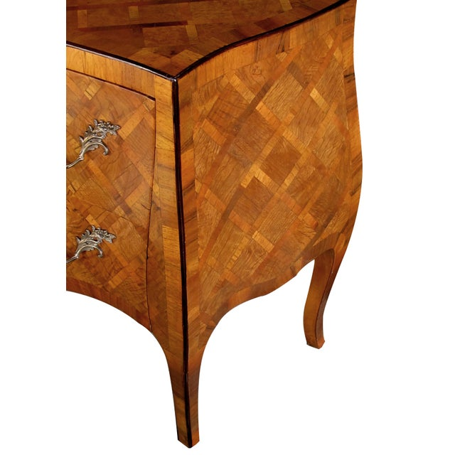 Italian A Shapely Pair of Italian Rococo Style Bombe-Form Olivewood 2-Drawer Chests With Parquetry Inlay For Sale - Image 3 of 5