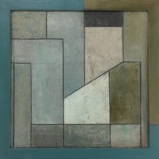Modern Square Geometric Abstract Oil Painting by Stephen Cimini For Sale